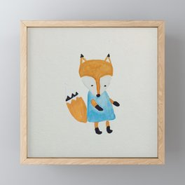 Forest Friends Watercolor Little Fox Framed Mini Art Print