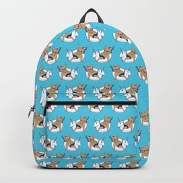 Frenchie enjoys summer on unicorn pool float in swimming pool Backpack