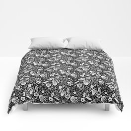 Funky Vintage Floral // Monochrome Black and White // Color Your Own Flower Garden Comforters