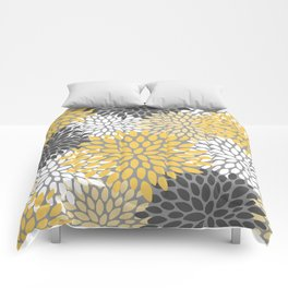 Modern Elegant Chic Floral Pattern, Soft Yellow, Gray, White Comforters