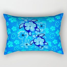 Blue Tropical Flowers And Honu Turtles Rectangular Pillow