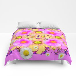 Pink Design & Pink Roses Shasta Daisies Art Abstract Comforters