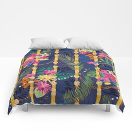 Tropical Flowers Golden Belt and Chain Vibrant Colored Trendy Pattern Comforters