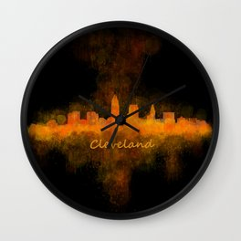 Cleveland City Skyline Hq V4 Wall Clock