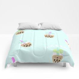 Blue Boba Milk Tea Comforters