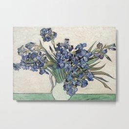 Vase with Irises Metal Print