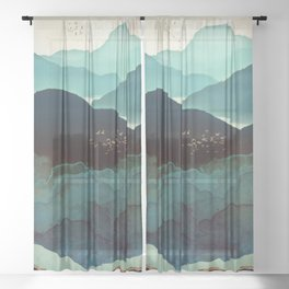 Indigo Mountains Sheer Curtain