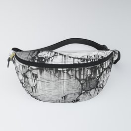 Glitch Black & White Circle abstract Fanny Pack