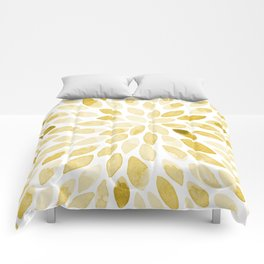 Watercolor brush strokes - yellow Comforters