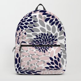 Abstract, Floral Prints, Navy Blue, Grey and Pink Backpack