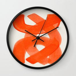 Mid Century Modern Abstract Painting Orange Watercolor Brush Strokes Wall Clock