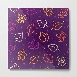 Lovely fall leaves on purple background Seamless Pattern illustration Metal Print