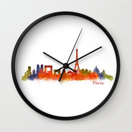 Paris City Skyline Hq v2 Wall Clock