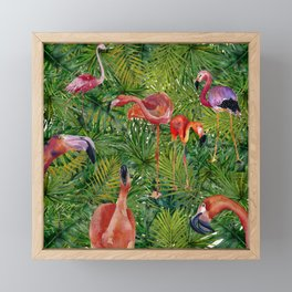 Aloha- Flamingo Bird Jungle Framed Mini Art Print
