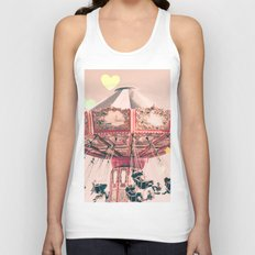 wing Carousel and heart bokeh on pale pink Unisex Tank Top