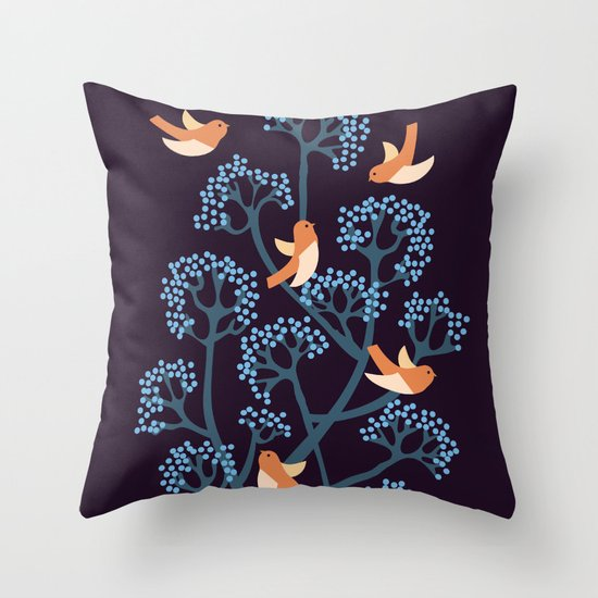 Birds Are singing Throw Pillow