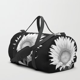 White Sunflower Black Background Duffle Bag