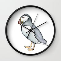 puffin Wall Clocks featuring puffin 3 by Beth Gilmore