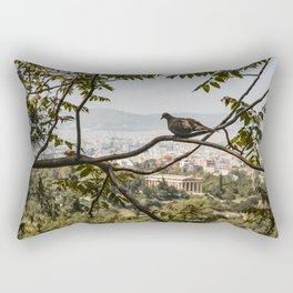 Bird Overlooking Temple of Hephaestus, Athens, Greece Rectangular Pillow