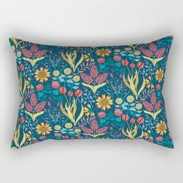 Florid Dreams Blue Rectangular Pillow