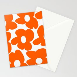 Orange Retro Flowers White Background #decor #society6 #buyart Stationery Cards