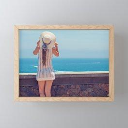 Summer Holiday Vibes / Woman & Ocean Framed Mini Art Print