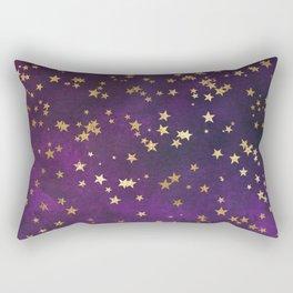 Dark Purple Gold Stars Rectangular Pillow