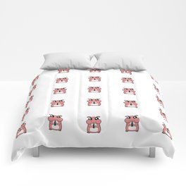 Cute Duotone Hamster Pattern Illustration Comforters