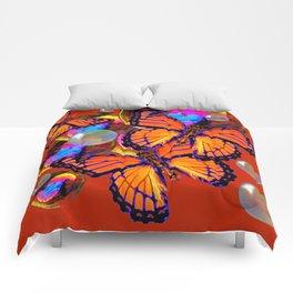 DECORATIVE MONARCH BUTTERFLIES & SOAP BUBBLES  ON TURMERIC  COLOR ART Comforters