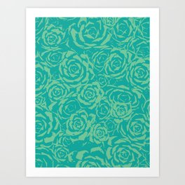 Succulent Stamp Teal & Green #682 Art Print