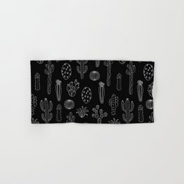 Cactus Silhouette White And Black Hand & Bath Towel