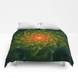 Beautiful Orange-Green Desert BarrelCactus Spiral Comforters