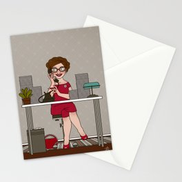 Sixties Secretary on the Telephone Stationery Cards