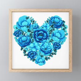 Elegant Floral Heart in Blue Hues Framed Mini Art Print