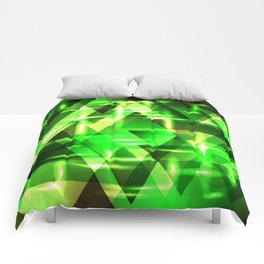 Spring gentle green horizontal strict stripes of sparkling grass triangles. Comforters