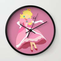 princess peach Wall Clocks featuring Princess Peach(Smash) by ejgomez