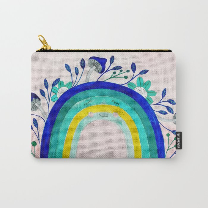 blue rainbow with botanical and floral watercolor illustrations Carry-All Pouch
