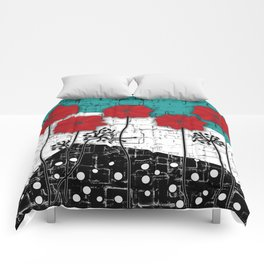 Applique. Poppies on turquoise black white background . Comforters