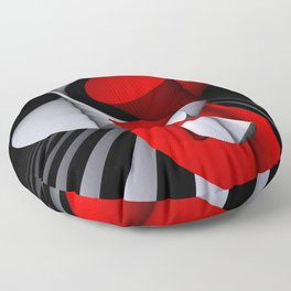 3D in red, white and black -11- Floor Pillow