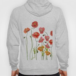Poppy Flowers watercolor Hoody