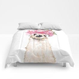 Llama with Beautiful Flowers Crown Comforters