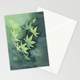 Japanese Maple Watercolor Green Leaves Stationery Cards