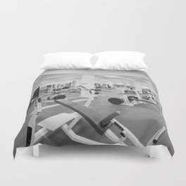 Black and White Weight Room Photograph Duvet Cover