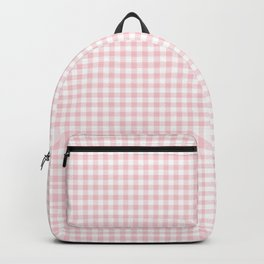 Small Blush Pink Valentine Pale Pink and White Buffalo Check Plaid Backpack