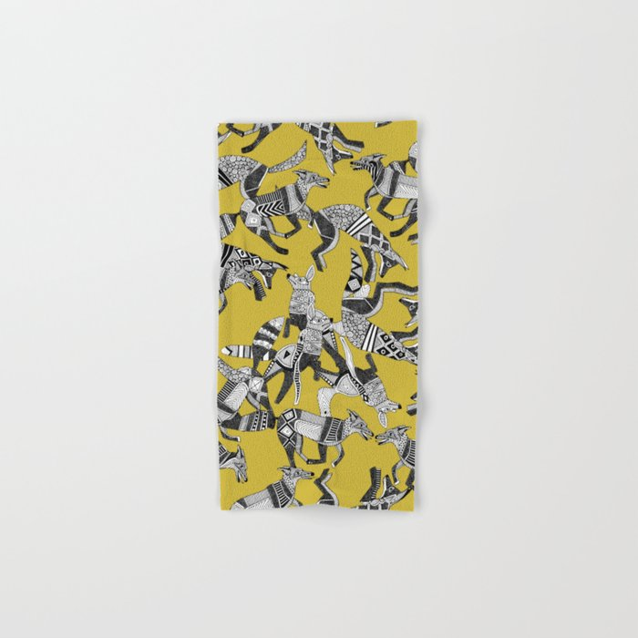 woodland fox party ochre yellow Hand & Bath Towel