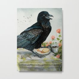Breakfast With the Raven Metal Print