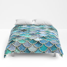 Multicolor Aqua Mermaid Scales - Beautiful Abstract Glitter Pattern Comforters