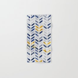 Herringbone chevron pattern.Indigo faux gold acrylic canvas Hand & Bath Towel