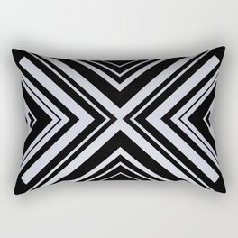 Black and White X Tribal Pattern Shapes Geometric Geometry Contrast I Rectangular Pillow