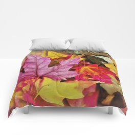 Autumn colorful leaves mountain Comforters